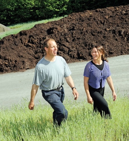 Scott Baughman and his wife, Lisa Ransom, are 'cooking' compost at Grow Compost in Middlesex